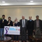 رئيس جامعة بوليتكنك فلسطين يستقبل الفريق الفائز في مسابقة كاس التخيل